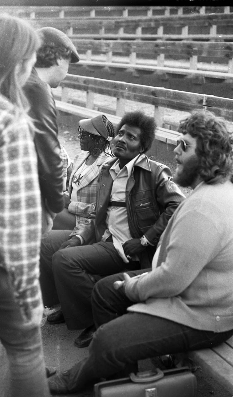 As long as we were driving up (from L.A.) to see the San Francisco Blues Festival John scored a little job from NPR to interview the musicians (you see he's holding a mike) --- That's him with Albert Collins when the Festival used to be held in the magnificent hilltop classical amphitheater in McLaren Park ---- August 14, 1977 photo by MW