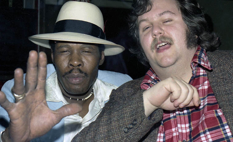 Blues guitarist Mississippi Smokey Wilson and John Breckow ------ It was John that heard rumors of this club down on Vermont & 88th Street in South Central LA, of this amazing post-war electric blues happening there, so we investigated, and returned many times thereafter ----------- photo by Mark Weber January 4, 1978