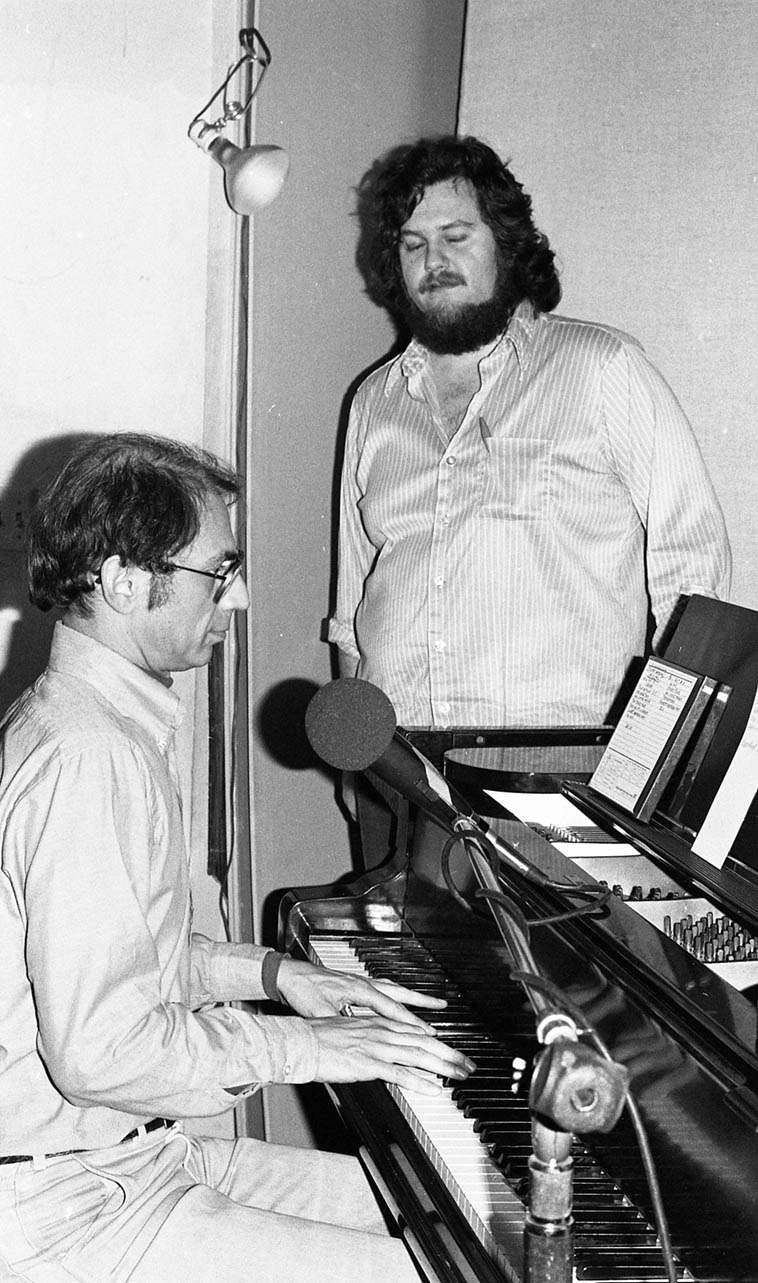 May 27, 1979 was a Sunday but I think this is extremely late on a Saturday night ---- John's radio show Smoke Rings on KPFK during a live broadcast with Dave Frishberg, a frequent guest on his show ---- Los Angeles ---- photo by Mark Weber ---- Donte's was just down the street and around the corner from KPFK so if I happen'd to be at Donte's I'd jump over to John's show, I remember this night was Prez Conference at Donte's ----- Dave played magnificently, and had his own joints that were rolled with papers that were unconventionally much longer than the standard Zig Zags and it was his own homegrown he called Ventura Silver <grin>