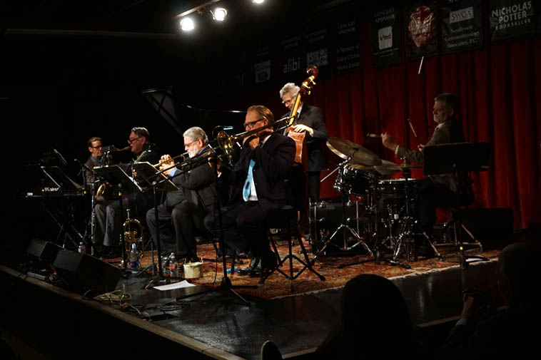 Bobby brought this rocket ship of a band into the Outpost on December 12, 2o19 and blew us back into our seats for a full non-stop 2 and one half (2 ½!) hours ---- the Bobby Shew Sextet: Micky Patten(bass), Cal Haines(drums), Jim Ahrend(keyboards & piano), Shew(trpt & flugel), Alex Murzyn(tenor & flute), Chris Buckholz(trombone) ---- photo by MW