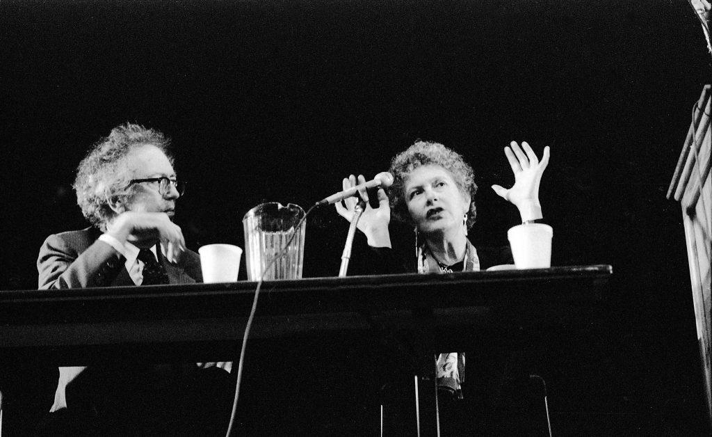 Hugh Kenner (the Ezra Pound scholar) and poet Denise Levertov ---- October 24, 1986 Cleveland State University ---- photo by Mark Weber