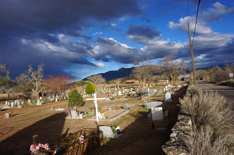 Campo santo ---- Evening in the village of Corrales, New Mexico, looking toward Sandia Mountains ---- March 13, 2020 photo by MW