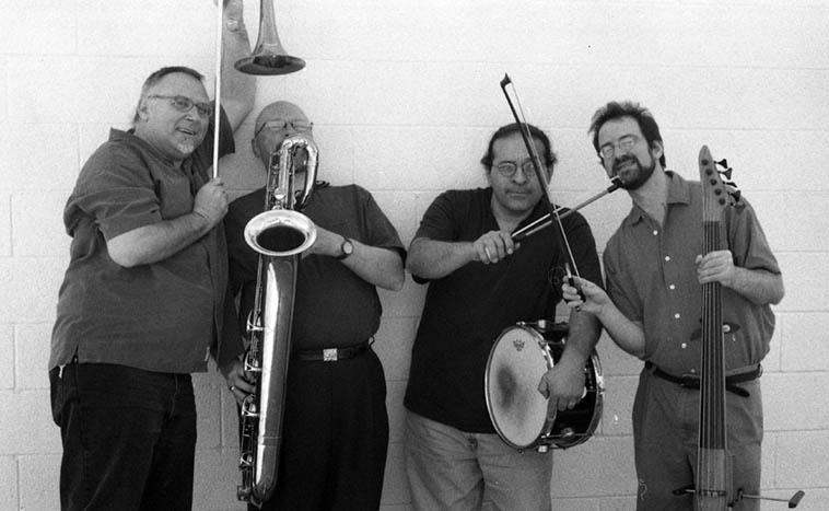 Michael Vlatkovich Quartet: MPV, David Mott, Chris Garcia, Jonathan Golove ---- May 19, 2003 ---- photo by Mark Weber