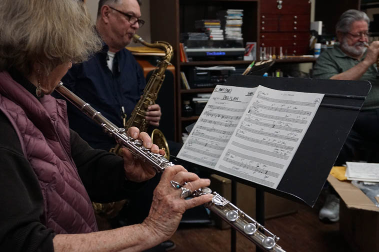 "Libbie Jo Snyder(flute), Alex Murzyn(tenor), Bobby Shew(trumpet) playing Clifford Brown's ""Delilah"" at Shew's Friday session(s) ---- February 28, 2020 ---- photo by Mark Weber"