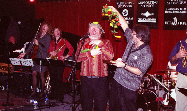 Willem Breuker Kolektief play the Outpost Performance Space ---- March 30, 2000 --- That's Alex Coke and Willem front and center while violinist Lorre Lynn Trytten and saxophonist Hermine Duerloo sing along ---- photo by Mark Weber ---- Hermine also plays harmonica in this outfit
