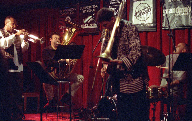 Ray Anderson Pocket Brass ---- October 12, 1999 ---- Eddie Allen(trumpet), Jose Davila(tuba), Johnny Vidacovich(drums), Ray(trombone) ---- Outpost Performance Space, Albuquerque ---- photo by Mark Weber