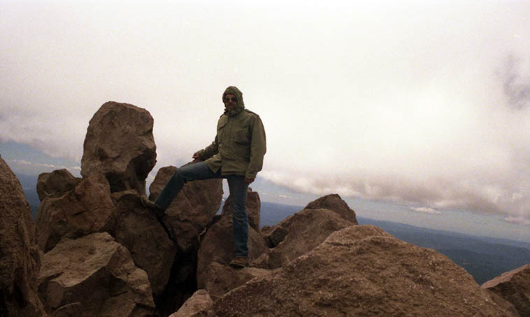 MW on top of Mt Lassen ---- California ---- a solo hike (I set the camera on time-release shutter) and it were cold! Even on June 17, 1986