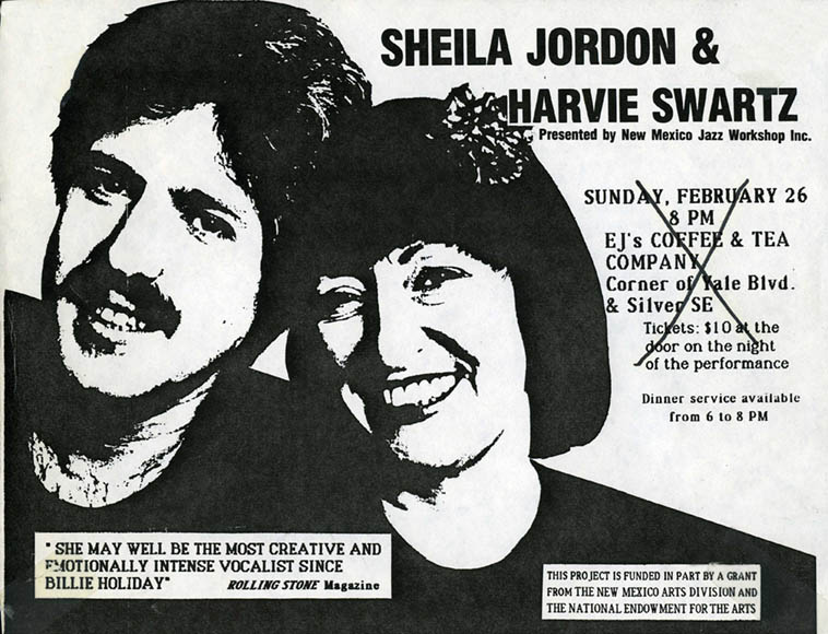 Sheila Jordan always ---- gig in Albuquerque Feb 26, 1984 ---- We didn't live here then, I think I was in jail that year, anyway ---- This location is now an Ayurvedic restaurant and it's just up the street from the Outpost Performance Space, so, everyone eats there, for our health ----------NOTE that the X-cross-out is how I found this flyer taped to the front of one of Sheila's album in the KUNM library