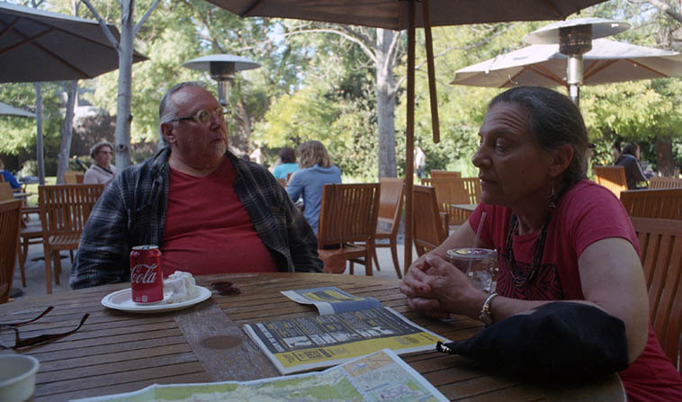 Tea time at the Norton Simon Sculpture Garden ---- February 3, 2018 ---- Michael and Janet ---- photo by MW