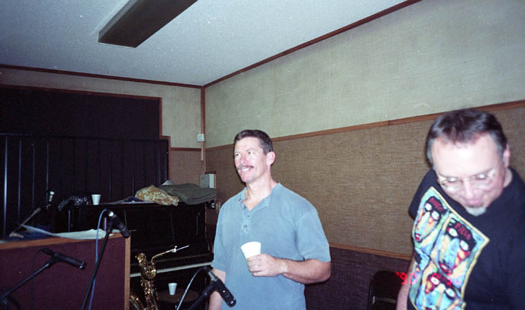 Bill Plake and Michael Vlatkovich at Tomsonics, L.A., December 17, 1995 recording session for my cd TIME ZONE DIFFERENTIAL ---- photo by William Roper