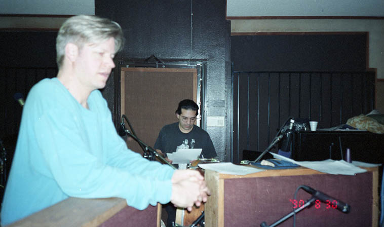 Alex Cline and Chris Garcia in their drum booths during session for TIME ZONE DIFFERENTIAL ---- photo by William Roper