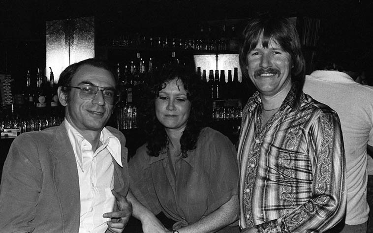 "Hanging out at the bar at Donte's, that's Dave Frishberg and Alan Broadbent and a demure young lady that I didn't catch her name ---- May 23, 1979 ---- photo by Mark Weber ---- Dave lived in Los Angeles, near Donte's he says in his book, from July 1971 to 1986 when he relocated to Portland, Oregon ---- On page 19 Dave says his ""list of most gifted musicians I ever ran across . . . "" was a saxophonist he knew at the University of Minnesota, name of Dave Karr, "". . . and Al Cohn, Zoot Sims, Alan Broadbent, Bob Dorough, and a handful of others."""