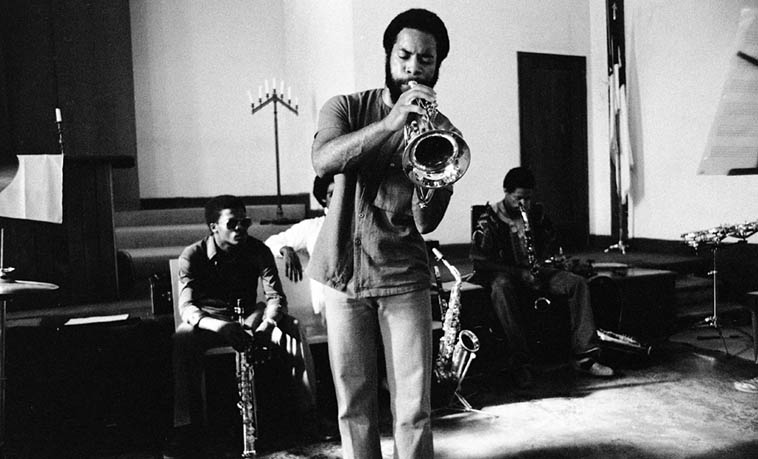 I didn't know Fundi LeGogn played flugelhorn! Usually and always he was on French-horn ---- Pan Afrikan Peoples Arkestra 1980 (possibly July 27) ---- photo by Mark Weber