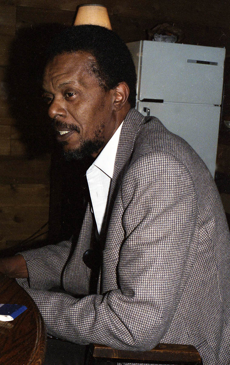Horace Tapscott at Mad Hatter Studios during the Jesse Sharps sessions March 26, 1986 that produced the album SHARPS & FLATS (Nimbus West Records) ---- Mad Hatter is Chick Corea's studio in Silverlake District of L.A. ---- photo by Mark Weber ---- Preservation includes living examples of honesty, fairness, fair play, lovingkindness, decency, all of which sum up in the quality we know as Integrity