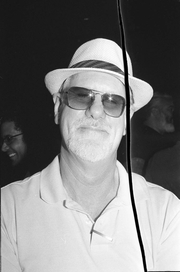 One of the great scholars of Los Angeles music, Kirk Silsbee, at Bradford LACMA concert August 14, 2015 ---- Kirk said that tear in the film (from the lab where I dropped it off for development) it improved it, haha ---- photo by MW