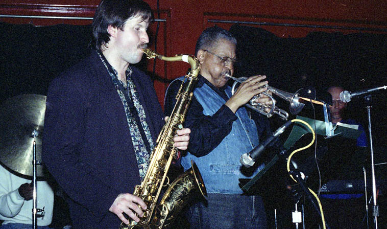 Bobby Bradford Mo'tet at the Alligator Lounge, Santa Monica, Monday series booked by Nels Cline ---- March 6, 1995 ---- Chuck Manning (tenor), BB (cornet), Don Preston (keyboard) ---- photo by Mark Weber