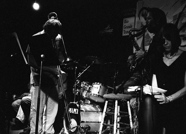 An off-the-grid northern New Mexico band comes to town: Every Other Breath: Kurt Heyl (trombone), Dave Wayne (drums), Dave Nielsen on tenor saxophone in this shot (normally, he held down the electric bass), Gary Sherman (low brass), Chris Worth (sax), Ursula Drabnik reading texts from Rilke ---- May 6, 1996 ---- photo by Mark Weber at old Outpost Performance Space