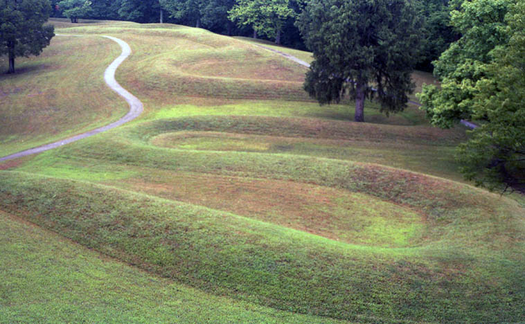 Great Serpent Mound, southern Ohio ---- August 10, 1986 ---- photo by Mark Weber ---- This was my first summer in Ohio and the humidity took some getting used to ---- Great Serpent Mound could be almost 3,000 years old, or only built in 1000AD, it's still under investigation ---- I love that it's situated on the site of a millions-year-old meteor strike, although, by the time the Woodland Cultures came along it was all but obscured, BUT somehow these people knew something had happened on this hill
