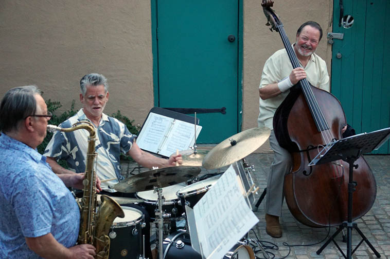 "The Long Shot Trio backyard concert under the Covid Lockdown high up on Nob Hill, Albuquerque ---- June 20, 2020 ---- photo by Mark Weber ---- Alex Murzyn on 1954 Selmer Super Balance Action tenor; Cal Haines on DW custom drums; Terry Burns, bass ---------- Be sure and go to YouTube under ""Cal Haines"" listing to see this entire concert on film (by Victoria)."