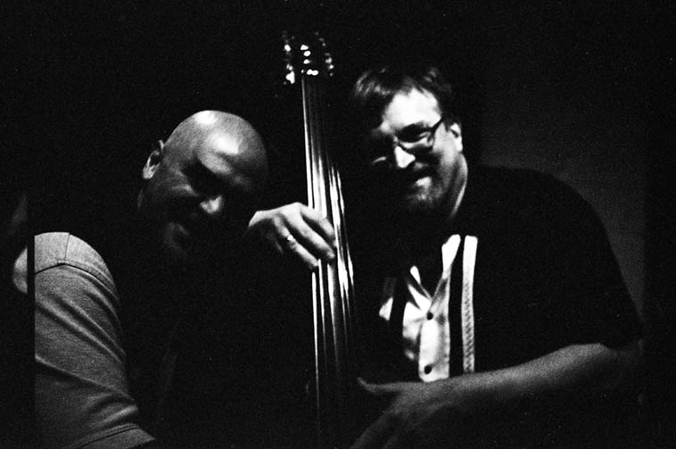 Two bass players: Ken Filiano & Ratzo Harris ---- September 25, 2009 ---- photo by Mark Weber --- I see this shot daily as it hangs on the wall of our staircase here at Studio 725