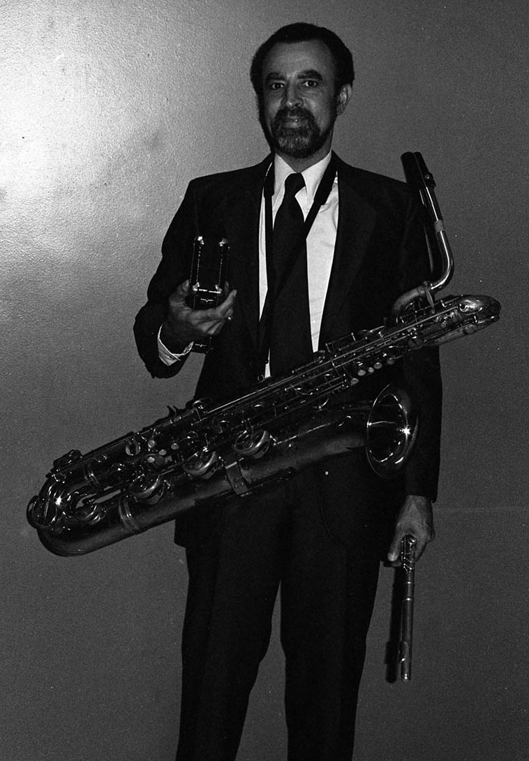 John C. Williams (we called him Johnny) the long-time baritone sax for Count Basie AND the Pan Afrikan Peoples Arkestra —- February 10, 1980 —- photo by Mark Weber