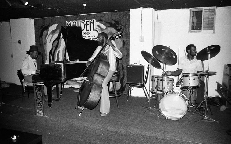 Gene Russell Trio at Maiden Voyage, downtown L.A. ---- August 23, 1980 --- Henry Franklin(bass) & Clarence Johnston(drums) ---- photo by Mark Weber ---- Clarence was a photographer, also, and was always trying to convince me to shoot boxing matches at the Olympic, that there was money in it