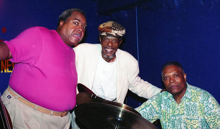 Horace Tapscott Trio at the Iridium, August 11, 1998 NYC, when the Iridium was across the street from Lincoln Center ---- Ray Drummond, Horace, Billy Hart ---- photo by Mark Weber