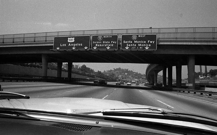 Cruising San Bernardino Freeway coming into downtown L.A. ---- May 9, 1981 ---- View from 1964 Ford Fairlane ---- photo by Mark Weber