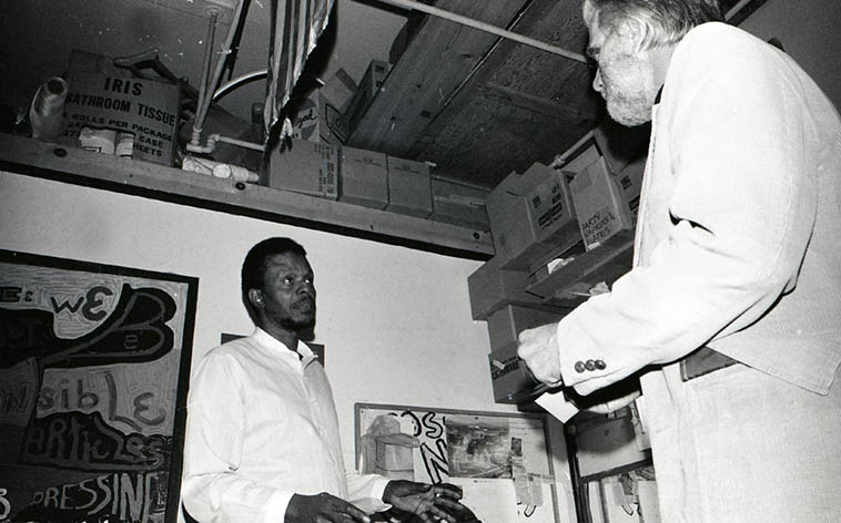Horace Tapscott and Tom Albach, the man behind Nimbus Records backstage at Century City Playhouse the evening HT Trio w/ Alex Cline and Roberto Miranda performed ---- Feb. 10, 1980 ---- photo by Mark Weber