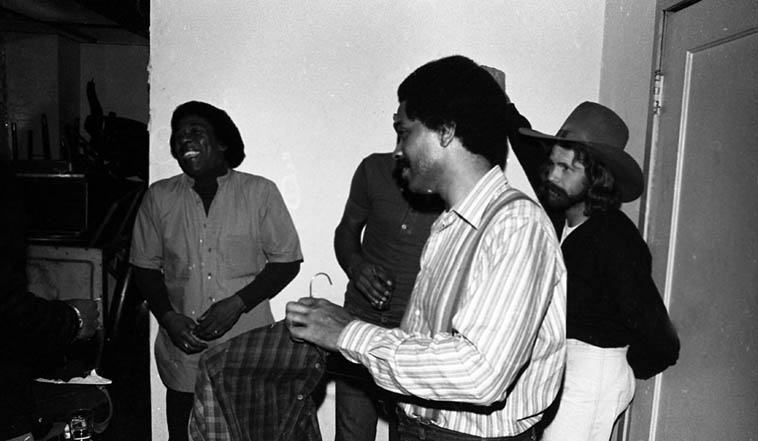 Backstage at Maiden Voyage with Bobby Hutcherson(forefront) and that's my friend David Flowers in hat that I mention in the introduction ---- January 31, 1980 Los Angeles ---- photo by Mark Weber