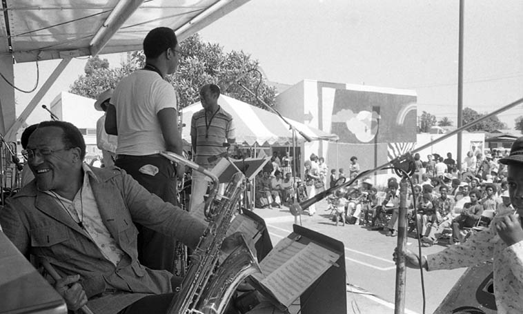 Buddy Collette out front of his Big Band at Watts Towers July 5, 1980 ---- That's the legendary William Green on baritone in the forefront of photo ---- photo by Mark Weber