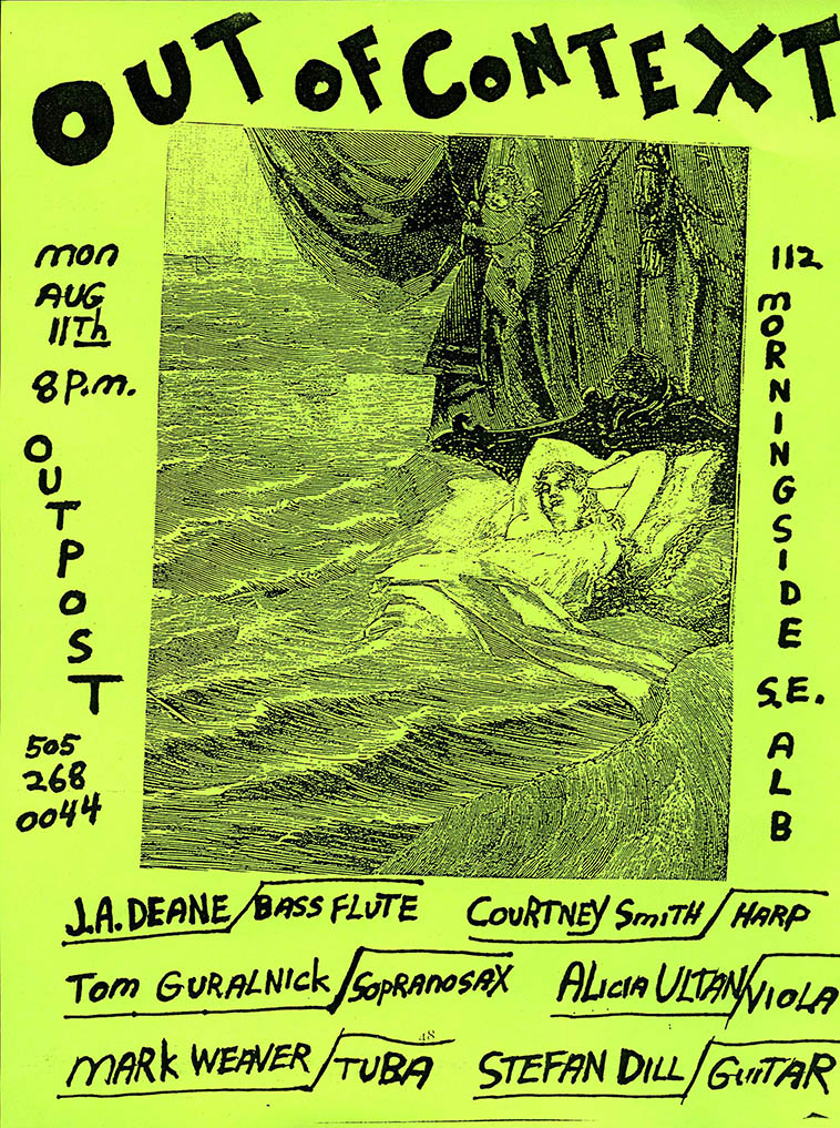 1997 --------- flyer designed by Dino w/ Max Ernst collage ---- This is the earliest formation of Dino's New Mexico conduction ensemble Out Of Context