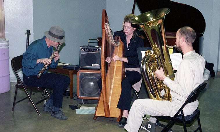 A short-lived trio Dino formed that he hoped could get hotel lounge gigs: Shadowland with Mark Weaver(tuba) and Courtney Smith(harp) and DNO on bass-flute performing at New Mexico State Fairgrounds ---- November 8, 1997 ---- photo by Mark Weber
