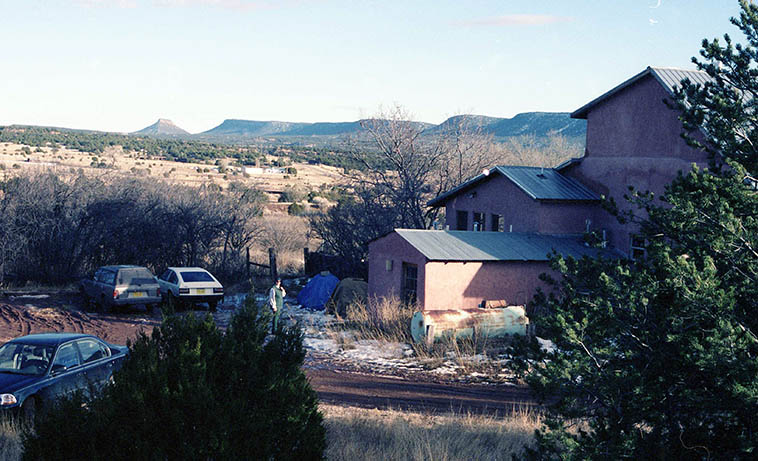 This is where Dino & Colleen lived in Ribera, New Mexico --- That's Janet standing by the cars ---- June 2, 1998 ---- photo by MW