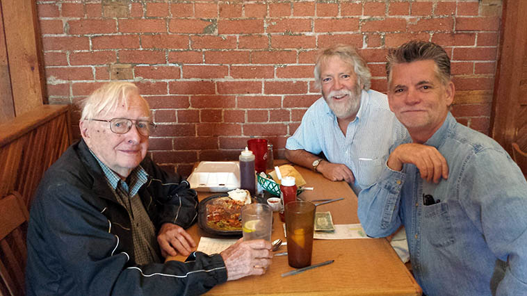 After a Monday morning radio show at KSFR lunch at our regular spot Tomasita's on the Railyard, Santa Fe ---- with the late dearly departed Arlen Asher, MW, Cal Haines ---- photo by our waitress Jolene ---- June 6, 2014