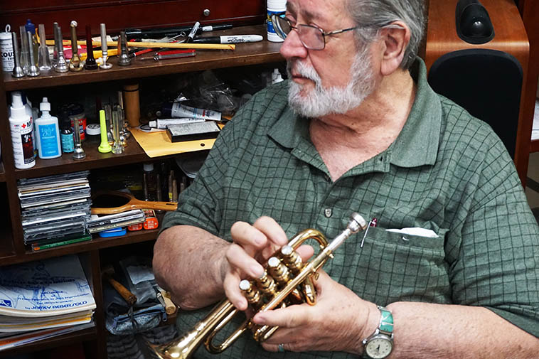 Bobby Shew with a 4-valve pocket trumpet ---- February 2020 photo by MW