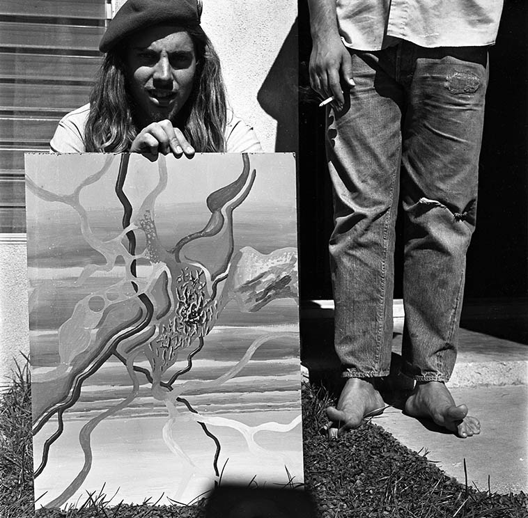 Andy Munz and his untitled oil painting with our great friend Barry Hall's toes ---- 1971 ---- photo by MW