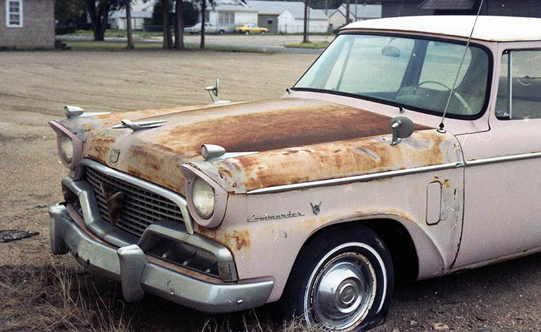 1958 Studebaker Commander police car —- Back when cars were influenced by Sputnik —- Beefheart was a fan of Studebakers —— photo by MW, Dalhart, Texas, August 6, 1994 (Todd Moore and I were passing through en route to Great Bend Poetry Rendezvous in Kansas)