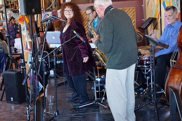 Patti Littlefield & Arlen playing for Paul Gonzales medical fund & general wellbeing October 21, 2018 ---- Cal Haines (drums), Colin Deuble (bass), Jim Ahrend (piano), Arlen (alto) ---- photo by MW