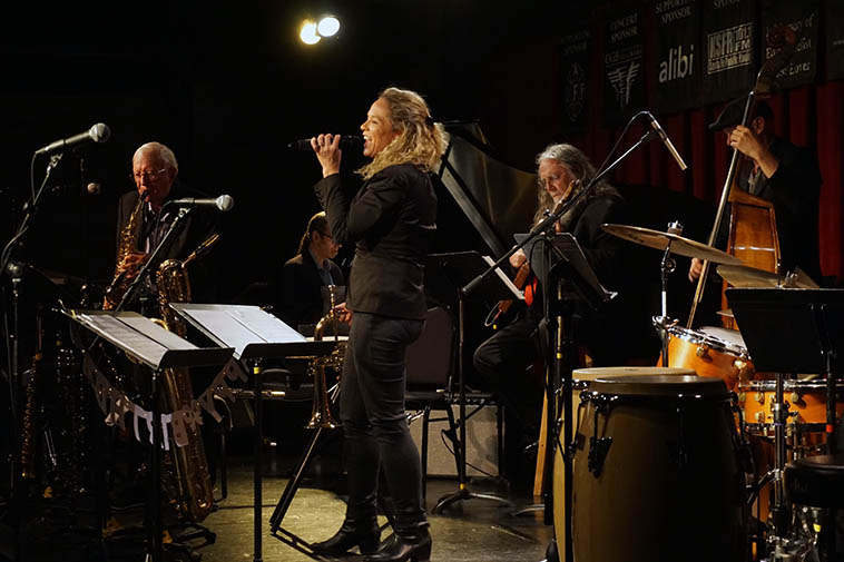 "Christine Fawson sings & plays flugelhorn ""I Got the World on a String"" ---- May 9, 2019 ---- photo by MW"