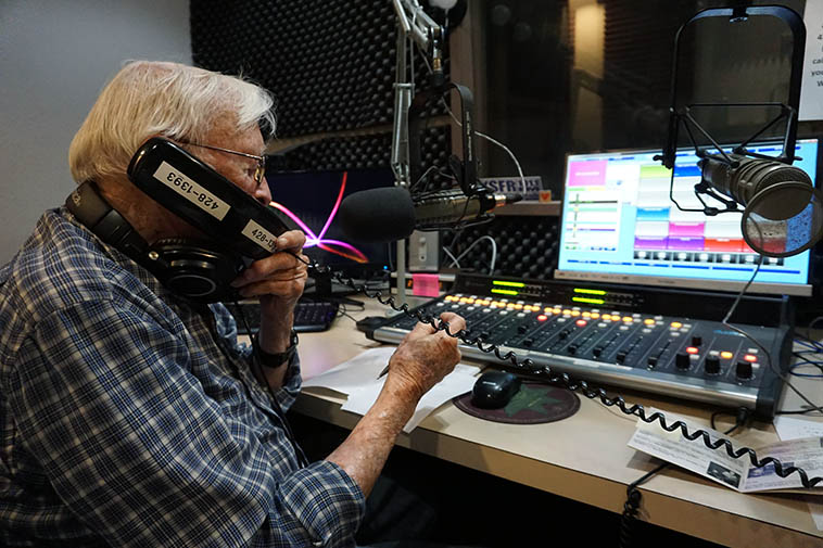 """Arlen into his Monday morning radio show The Jazz Experience on KSFR ---- July 1, 2019 Santa Fe ---- photo by MW --------- I've always thought the name of his show was absolutely perfect, says it all ---- I also loved how Arlen re-introduced us to the term """"spots"""" from older times, it refers to commercials ---- His theme song was """"Invitation"""" by Bill Evans Trio"""