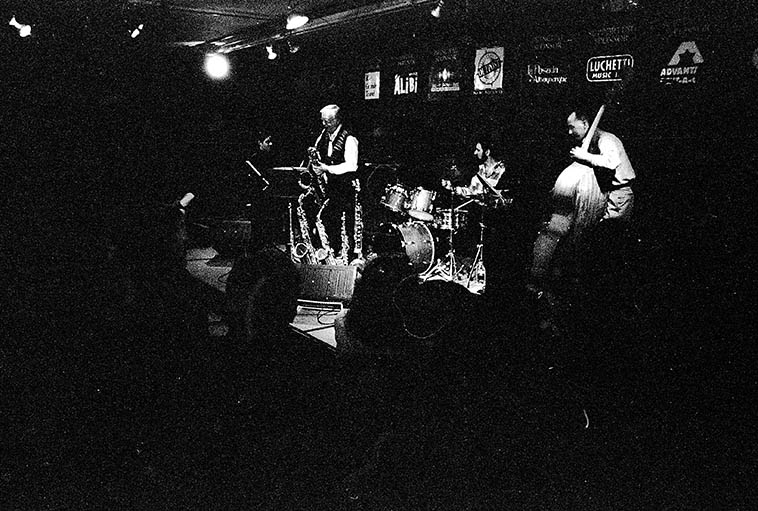 The jazz band called Straight Up, under the direction of drummer John Trentacosta, in quartet this night: Bob Fox(piano), David Parlato(bass), Arlen(woodwinds) at original location of Outpost Performance Space, Albuquerque ---- March 4, 1996 photo by MW ----- Arlen was not a composer, he believed in pure improvisation upon well-known songs