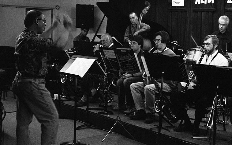 Arlen on piccolo! w/ ORJO Outpost Repertory Jazz Orchestra under the direction of David Parlato in rehearsal with guest conductor Roger Baker ----- Lee Taylor, Robbie Wilkerson, Bob Gusch (saxophones), David (bass), Andy Polin (drums), Steve Figueroa (piano), Michael Anthony (guitar) ---- December 2, 1995 ---- photo by MW