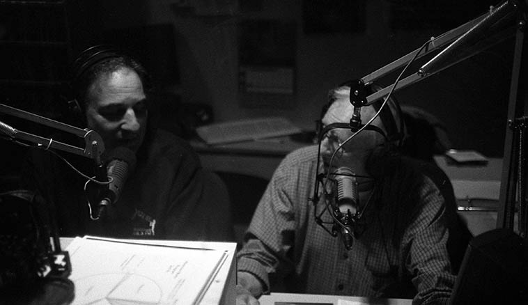 On Air ---- John Trentacosta & Arlen Asher combined their two shows: The Bopera House & The Jazz Experience and broadcast as a team for over ten years every Monday morning on KSFR Santa Fe, a much beloved radio show ----- I'm shooting through the glass window in the next room ---- October 17, 2010 ---- photo by MW