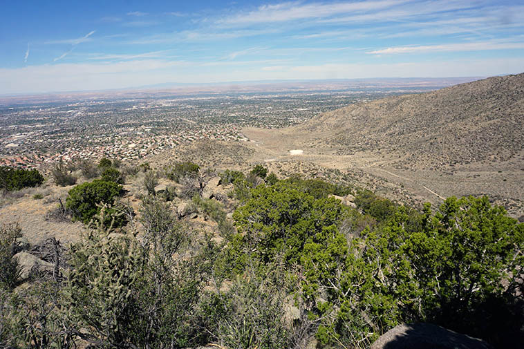 Looking down into Embudo Canyon with Albuquerque beyond ---- 10:59 a.m. April 26, 2021 ---- photos by MW