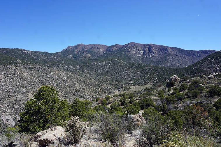 View down into upper Embudo Canyon and South Sandia Crest (9,782) and to the left, along that ridge and the saddle I made it to last Tuesday on Whitewash Ridge Trail
